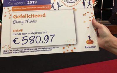 Uitreiking Cheque Rabobank Clubkas Campagne 2019